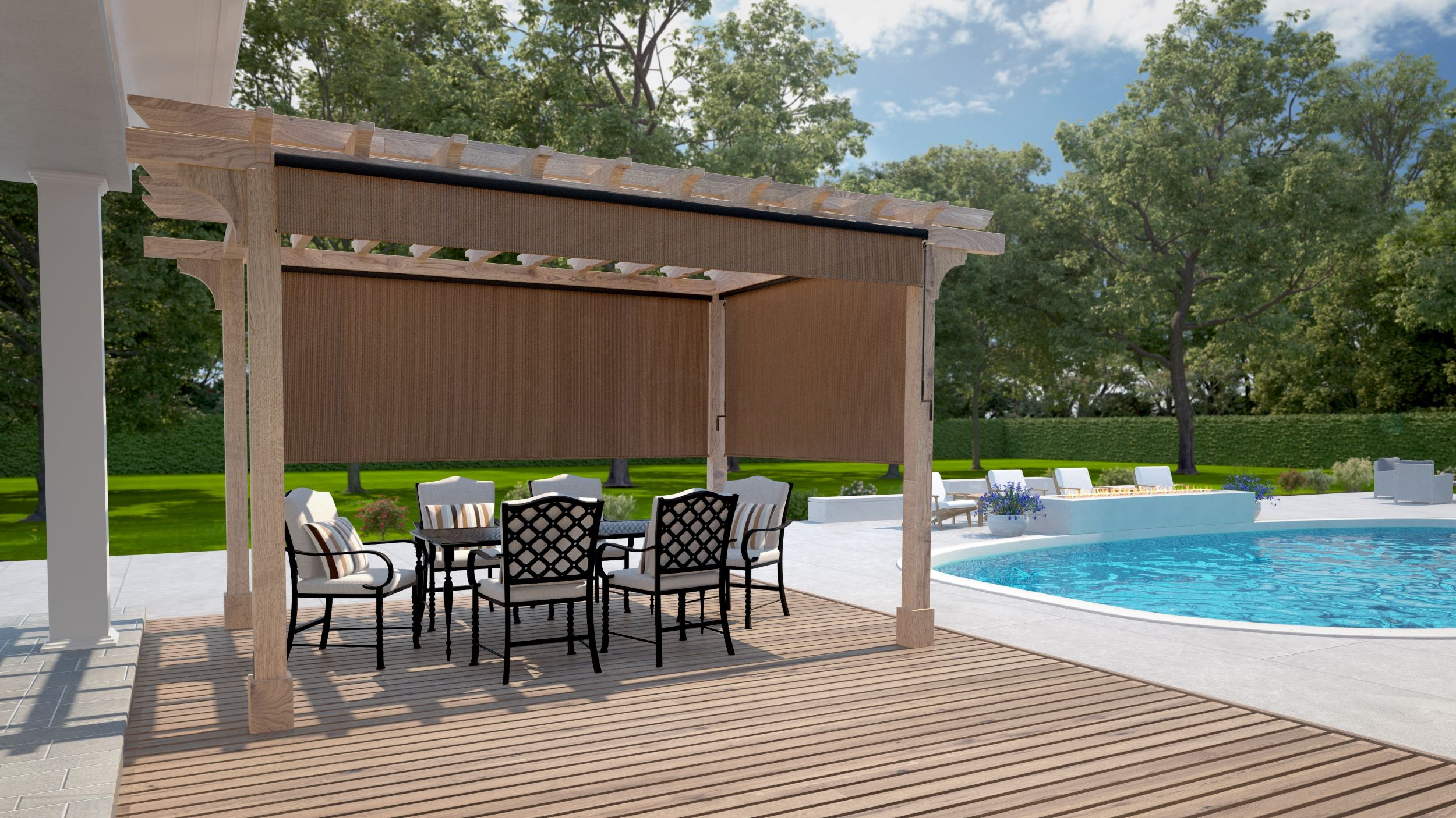 Wand Operated Outdoor Roller Shades With 95 Uv Block Coolaroo